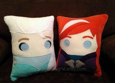 Anna and Elsa frozen pillow plush cushion by telahmarie on Etsy, $30.00
