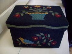 Box covered in wool with applique