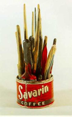 Jasper Johns, Savarin coffee can with paint brushes.  Painted bronze 1960 13 1/2 in.