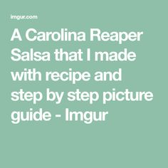 A Carolina Reaper Salsa that I made with recipe and step by step picture guide - Imgur