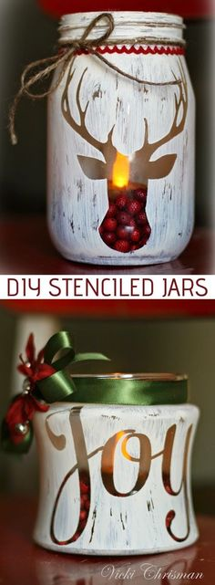 Easy DIY Rustic Christmas Home Decor Idea using jars, stencils and paint! These would make for beautiful table centerpieces or mantel displays! Listotic.com