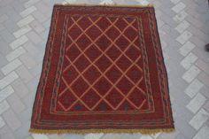 vintage afghan tribal handmade square rug kilim turkish persian rug 3'10 x 4'6 #Handmade #Tribal