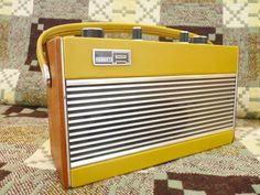 1971 Vintage Roberts Radio in mustard yellow.