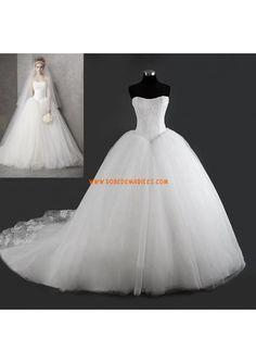 Robe de mariée princesse bouffante tulle dentelle bustier