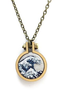 The Great Wave//Hokusai Embroidery// Pendant Necklace