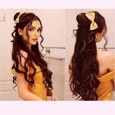 """Jackie Wyers on Instagram: """"Lil Belle from Beauty and the Beast inspired look, really cute for the holidays⭐️ wasn't planning on doing the makeup as well but decided to add it in be up this week! Wearing a 4 clip weft of @bellamihair 22"""" dark brown clip in extension here! #belleinspired #beautyandthebeast #hairpost #disneyprincess"""""""