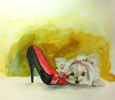 Yorkie puppy dog original watercolor Giclee by LiubicevaGallery, $30.00