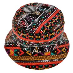 ZLYC Unisex Vintage Short Brim Bucket Hat Fishmen Cap Tribal Geometric  Graffiti Print Canvas 6eaf3f9d60cc