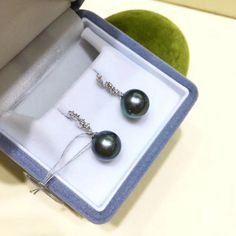 10-11 mm Tahitian Pearl Earrings, 18k White Gold w/ Diamond - AAAA Pearl Chandelier, Pearl Pendant, Chandelier Earrings, Tahitian Pearl Earrings, Tahitian Black Pearls, Golden South Sea Pearls, Pearl Jewelry, Natural Diamonds, White Gold