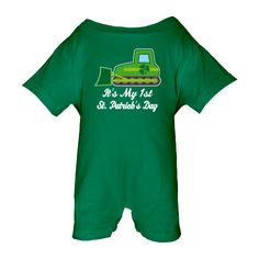 Irish Bulldozer construction truck with shamrock clover and it's my 1st St. Patrick's Day quote on a Baby Romper for a little boy. $24.99 www.homewiseshopperkids.com