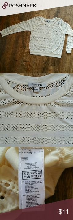 """Forever 21 holey sweater size medium Forever 21 beige holey sweater, size medium. In very good used condition.  Armpit to armpit - 20.5"""" Shoulder to hem - 23.5"""" Forever 21 Sweaters"""