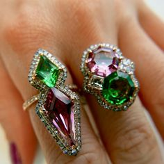 Collection of Tsavorite and Pink Spinel in IVY gold and diamonds ring www.ivynewyork.com