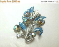 SALE Vintage Brooch Watermellon Rhinestones Flower/Thistle