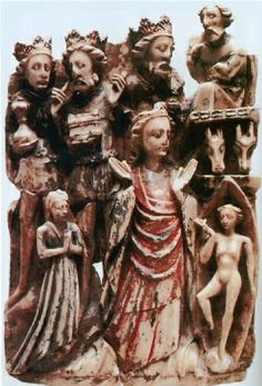 A fifteenth-century alabaster carving depicting the Nativity: the Magi/Three Kings are shown with their symbolic attributes: crowns and gifts. (Museo Arqueologico Nacional, Madrid)
