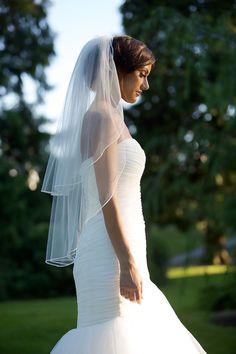 "Fingertip veil with blusher, double-tier 1/8"" soutache braid trim, Swarovski pearls & crystals along trim, Bridal veil, bridal accessories. on Etsy, $100.35"