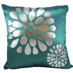 "Green Pop Flowers 18""x18"" Decorative Silk Throw Pillow Cover"