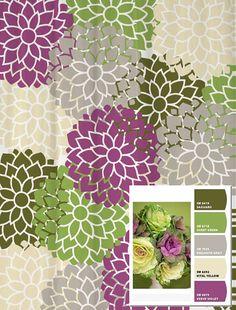 Shower Curtain in Custom Purple Green and Gray by SwirledPeasDesigns, $72.00
