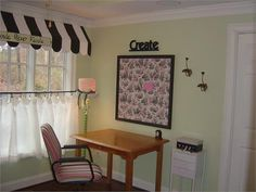 I love the awning in this craft room