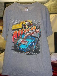 Attica Raceway Park T-Shirt Size Large Ohio's Finest Racing Sprint Cars Graphics #FruitoftheLoom #CrewNeck