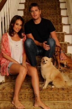 Rob Thomas of Matchbox Twenty with wife Marisol and dogs.