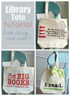 Library Tote Tutorial w library card pocket, too!