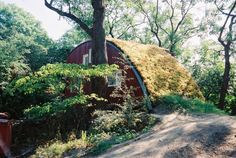 earthen-roofed cabin