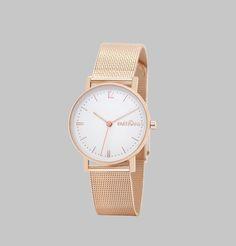 Montre bracelet simple tour en maille milanaise or rose, bracelet interchangeable, largueur 16mm, cadran blanc, aiguilles or rose, trotteuse pêche, mouvement à