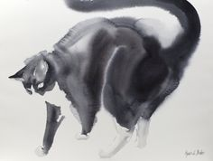 Bubi my tuxedo cat  original watercolor painting on by bodorka
