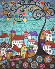 Purchase framed prints from Karla Gerard. All Karla Gerard framed prints are ready to ship within 3 - 4 business days and include a money-back guarantee. Zentangle, Art Fantaisiste, Karla Gerard, Inspiration Art, Sea Art, Colorful Paintings, Naive Art, Whimsical Art, Rug Hooking