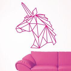 Décoration sticker mural licorne origami géométrique