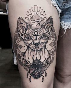 Sphynx Tattoo And Egyptian Symbols By Sirenatattoo Catstuff