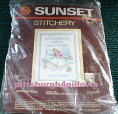 Sunset Stitchery - Wedding Bells - 5 x 7 - 1983 - Complete Kit - Not Opened by pittsburgh4pillows on Etsy