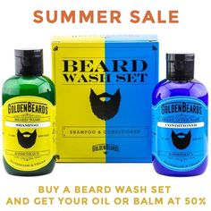 SUMMER SALE!   WITH YOUR BEARD WASH SET GET YOUR OIL OR BALM AT 50% DISCOUNT!  HURRY UP! OFFER VALID UNTIL..........? #beardoil #beardlife #beards #beardgang #beardbalm #beardcare #bearded #beardproducts #beardlove Beard Shampoo, Beard Conditioner, Shampoo And Conditioner, Types Of Beards, Beard Wash, Hair Cleanse, Beard Love, Hair And Beard Styles, Smell Good