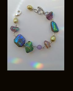 Eclectic mix of summer-colored gemstones - Labradorite, Chrysoprase, Amethyst, Freshwater Pearls - Yay!