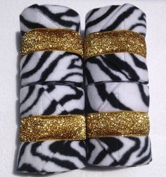 Zebra Polo Wraps with Gold Glitter Polo Wraps, Western Tack, Gold Glitter, Equestrian, Bling, Horses, Unique, Etsy, Jewel