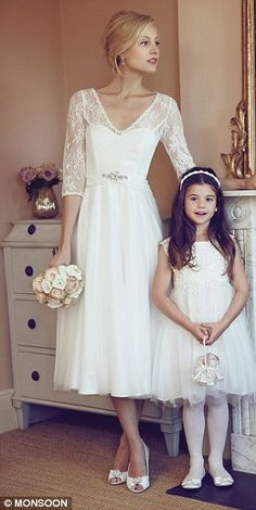 Monsoon also offer lavish dresses for brides on a budget, including this Coralie Dress, left, for £299