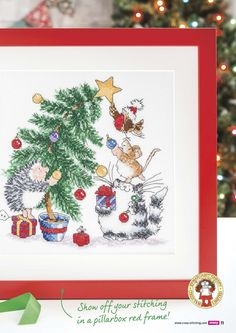 Cross stitch crazy 210 Christmas tree cat dog bird