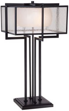 $190, 3 60 watt bulbs, 28.5; Magna Industrial Bronze with White Possini Euro Table Lamp - #EU1C323 - Euro Style Lighting