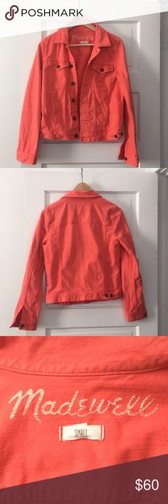 Bright Coral Madewell Jean Jacket Small Madewell jean jacket in great condition, only worn a few times, with distressed buttons. Size Small (TTS) Madewell Jackets & Coats Jean Jackets