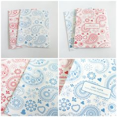Set of 2 Assorted Red and Blue Paisley Design Textured Matte White Blank Cards