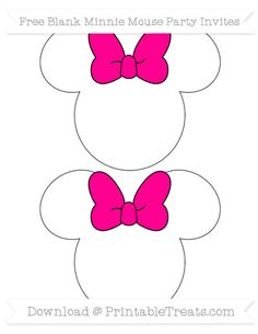 Magenta  Blank Minnie Mouse Party Invites