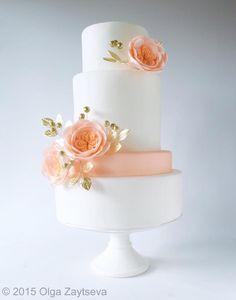 Modern white wedding cake by Olga Zaytseva  - http://cakesdecor.com/cakes/214898-modern-white-wedding-cake