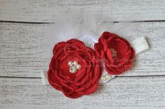 Red Flower with Feather & Lace Headband