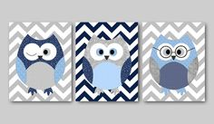 Owl Decor Nursery Baby Boy room decor kids wall art print