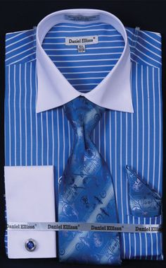 Mens two tone french cuff dress shirts with spread collar for Daniel ellissa men s dress shirts