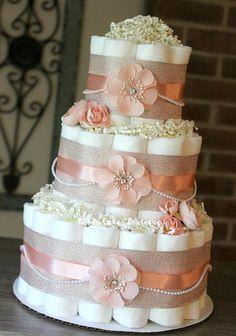 Baby Shower Menu, Diaper Shower, Baby Shower Items, Baby Shower Diapers, Baby Shower Cakes, Tea Party Diaper Cake, Pink Diaper Cakes, Diy Diaper Cake, Nappy Cake