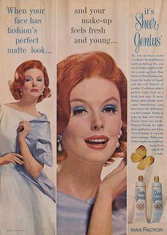 1962 Vogue Cosmetic Ad - Sheer Genius Foundation by Max Factor - Redhead - Wall Art - Bed & Bath Decor - Retro Vintage Beauty Advertising 1940s Makeup, Vintage Makeup Ads, Retro Makeup, Vintage Ads, Vintage Trends, Vintage Vanity, Vintage Perfume, Vintage Stuff, Vintage Designs