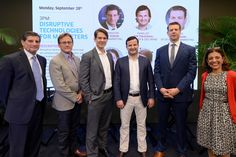 #AWXII - Advertising Week:  (L-R) NASDAQ VP of Global Marketing Russell Rubino, Roku VP of Business Development and Content & Services Scott Rosenberg, IgnitionOne Chief Revenue Officer Jonathan Baron, Tapad Founder and CEO Are Traasdahl, OpenX VP of Production Marketing Brett Tabano and Eventbrite Chief Marketing Officer Jaleh Bisharat pose onstage at the Disruptive Technologies for Marketers