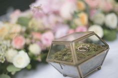 The perfect ring box! Love this gold terrarium ring holder from Audrie and Eugene's Rose Gold Nosh Wedding in Singapore.
