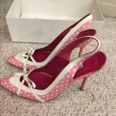 Manolo Blahnik polka dot Sling backs!!!! SALE Excellent Condition!!!! Size 37.5 (7.5) cutest shoe. Comes with box and dust bag. Manolo Blahnik Shoes